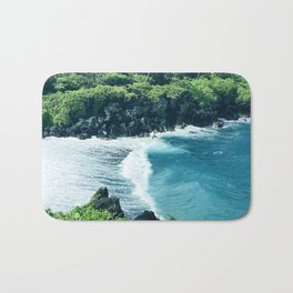 Tropical Ocean Cove With Rogue Wave and Wild Surf Bath Mat