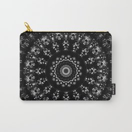 Kaleidoscope crystals mandala in black and white Carry-All Pouch