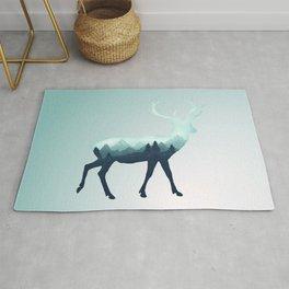 Deer Stag Elk Roe Fawn Moose Double Exposure Surreal Wildlife Animal Rug