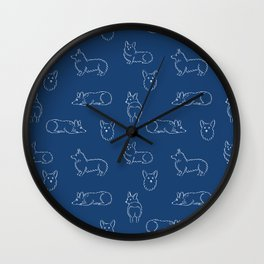 Corgi Pattern on Navy Background Wall Clock