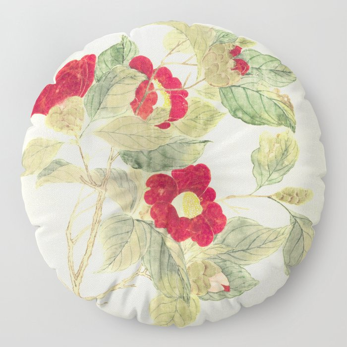 Red flowers , red flowers Floor Pillow