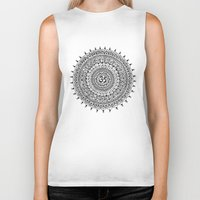 ohm Biker Tanks featuring Ohm Mandala by Sarah Ottino