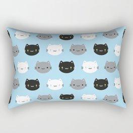 Cute Cats & Kawaii Kittens (Blue) Rectangular Pillow