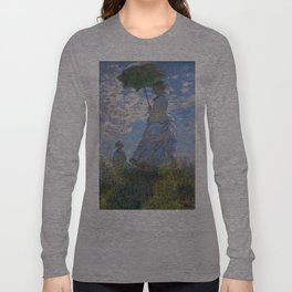 1875-Claude Monet-Woman with a Parasol - Madame Monet and Her Son-81 x 100 Long Sleeve T-shirt