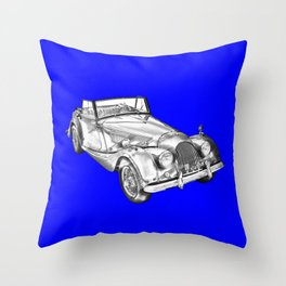 1964 Morgan Plus 4 Convertible Sports Car Illustration Throw Pillow