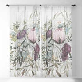 Rustic and Free Bouquet Sheer Curtain