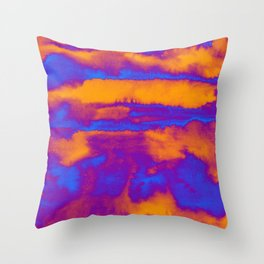 Abstract watercolor striped background in blue and orange colors Throw Pillow