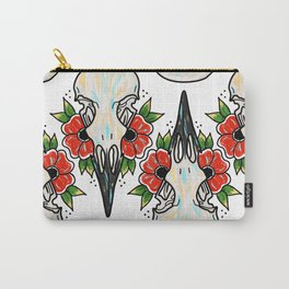 Crow Skull and Flowers Carry-All Pouch