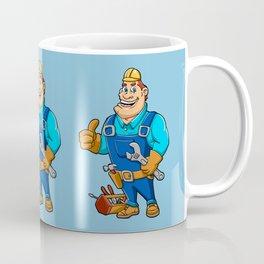 Handyman with wrench and tool box Coffee Mug