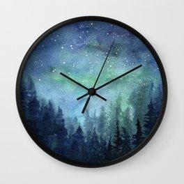 Watercolor Galaxy Nebula Northern Lights Painting Wall Clock