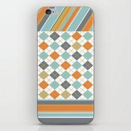Retro 1980s Argyle and Stripes Geometric iPhone Skin