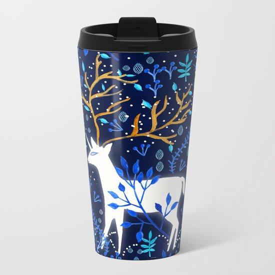 Deericorn In Blue Metal Travel Mug
