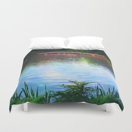 Central Park Boats on Rainbow Waters Duvet Cover