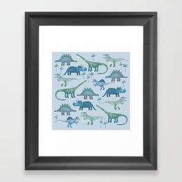 Dinosaurs Blue Framed Art Print