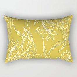 Floral Drawing in Yellow Rectangular Pillow