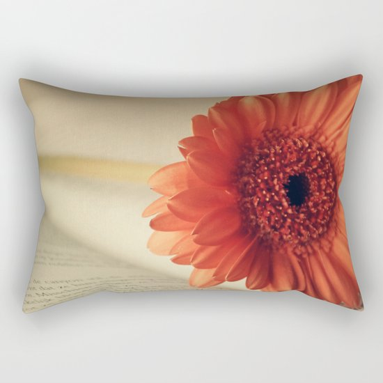 Golden Sunlight Orange Gerbera Rectangular Pillow