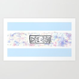 végétal géometric watercolor and linosculpting Art Print
