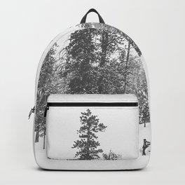 Sledding // Snowday Winter Sled Hill Black and White Landscape Photography Ski Vibes Backpack