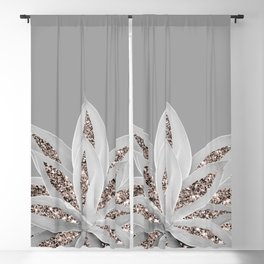 Gray Agave with Rose Gold Glitter #1 #shiny #tropical #decor #art #society6 Blackout Curtain