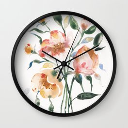 Loose Floral on Yupo Wall Clock
