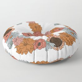Floral Peace Sign Floor Pillow