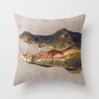 crocodile Throw Pillows featuring Crocodile by Anna Milousheva
