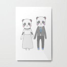 Wedding pandas, white background Metal Print
