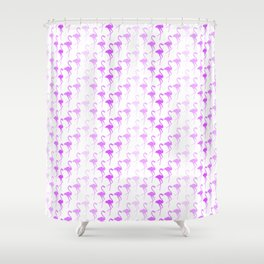 Seamless repeating pattern with purple flamingos Shower Curtain