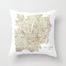 Jackson Mississippi watercolor city map Throw Pillow
