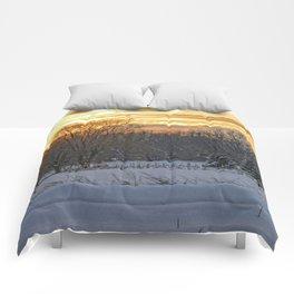 Winter Landscape Sunset Comforters
