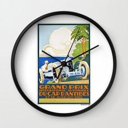 1929 Cap D'Antibes France Grand Prix Racing Poster  Wall Clock