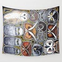 owls Wall Tapestries featuring Owls by Chloe Yzoard