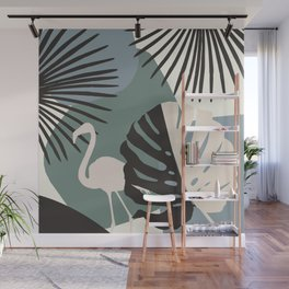 Minimal Flamingo Monstera Fan Palm Finesse #1 #tropical #decor #art #society6 Wall Mural