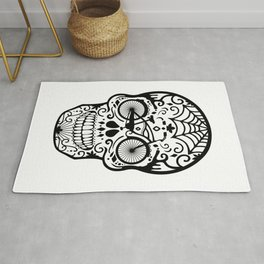 Vintage Mexican Skull with Bicycle - black and white Rug