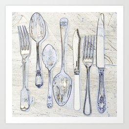 Classic Silverware Blue and Cream Art Print
