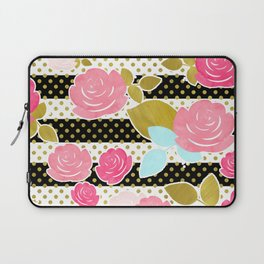 Fun Chic Roses & Black and White Stripes with Gold Dots Laptop Sleeve