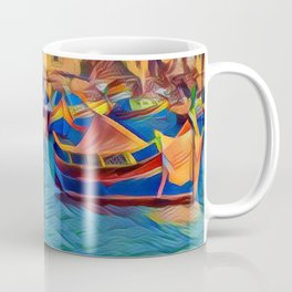 Marsaxlokk Maltese Fishing Boats Coffee Mug