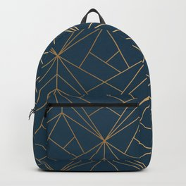 Benjamin Moore Hidden Sapphire Gold Geometric Pattern With White Shimmer Backpack