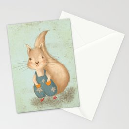Woodland Nursery - Baby Squirrel Illustration Stationery Cards