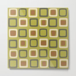 Mid Century Modern Squares Chartreuse Metal Print