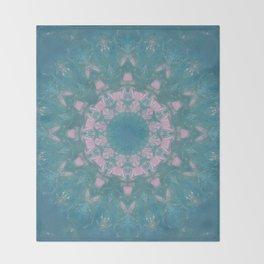 Navajo Turquoise Gemstone Mandala No. 40 Throw Blanket