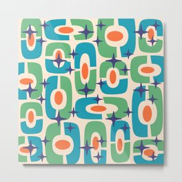 Mid Century Modern Cosmic Abstract 126 Cyan Green Orange and Blue Metal Print