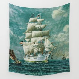 Vintage Large White Sailboat Painting (1895) Wall Tapestry