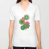 flamingo V-neck T-shirts featuring Flamingo by tamaradeborah
