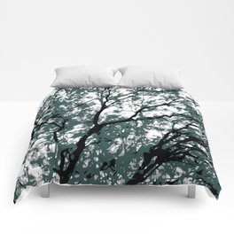 tree branch with green leaves abstract background Comforters