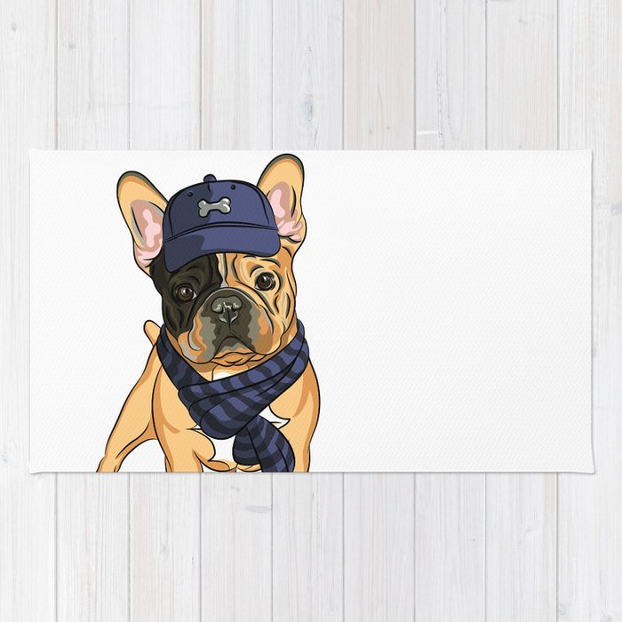 Cute puppy pug in baseball hat and scarf. Rug by juliatush  811b84dd506