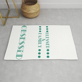 "A basic and simple T-shirt Design ""Thankful Blessed & Family History Obsessed"" White Blue Green Fam Rug"