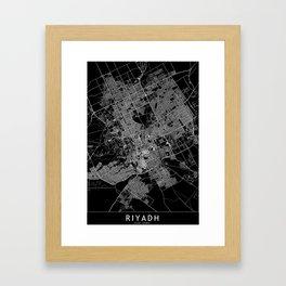 Riyadh Black Map Framed Art Print