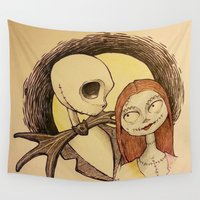 jack skellington Wall Tapestries featuring Jack & Sally by Lydia Jae