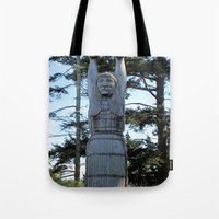 iron maiden Tote Bags featuring Maiden by Donna Creamore